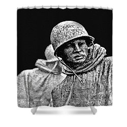 Shower Curtain featuring the painting Korean War Veterans Memorial by Bob and Nadine Johnston