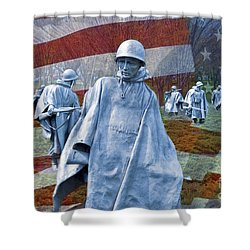Korean War Veterans Memorial Bronze Sculpture American Flag Shower Curtain