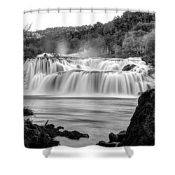 Krka Waterfalls Bw Shower Curtain
