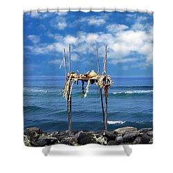 Ku Emanu Heiau Kona Shower Curtain by Kurt Van Wagner