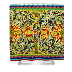 Kuna Bird Spirits Shower Curtain by Vagabond Folk Art - Virginia Vivier