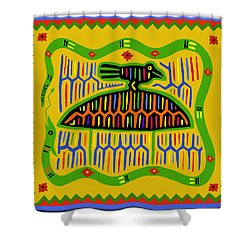 Kuna Bird With Snake Shower Curtain by Vagabond Folk Art - Virginia Vivier