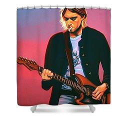 Kurt Cobain In Nirvana Painting Shower Curtain by Paul Meijering