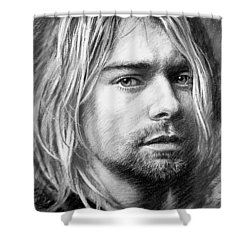 Shower Curtain featuring the drawing Kurt Cobain by Viola El