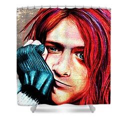 Kurt Cobain - Grungy Version Shower Curtain by Shawna Rowe