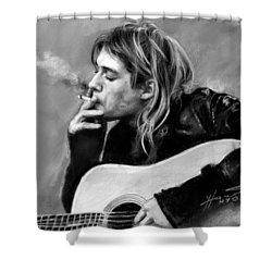 Shower Curtain featuring the drawing Kurt Cobain Guitar  by Viola El