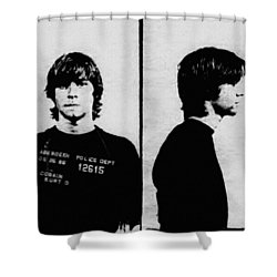 Kurt Cobain Mugshot Shower Curtain by Bill Cannon