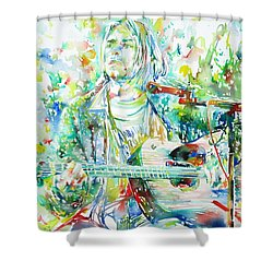 Kurt Cobain Playing The Guitar - Watercolor Portrait Shower Curtain by Fabrizio Cassetta