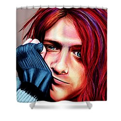 Shower Curtain featuring the painting Kurt Cobain by Shawna Rowe
