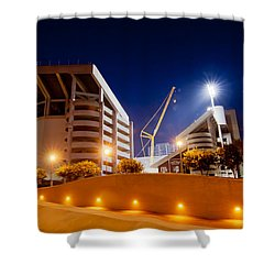 Kyle Field At Night Shower Curtain by Linda Unger
