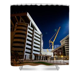 Kyle Field Construction Shower Curtain by Linda Unger