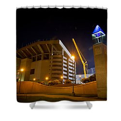 Kyle Field Shower Curtain by Linda Unger