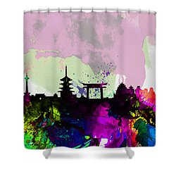 Kyoto Watercolor Skyline Shower Curtain by Naxart Studio