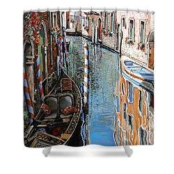 La Barca Al Sole Shower Curtain by Guido Borelli
