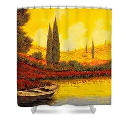 La Barca Al Tramonto Shower Curtain by Guido Borelli