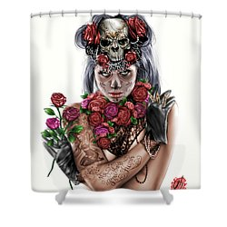 La Calavera Catrina Shower Curtain by Pete Tapang