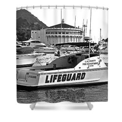L A County Lifeguard Boat B W Shower Curtain