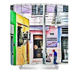 Shower Curtain featuring the photograph La Farmacia by Jim Thompson