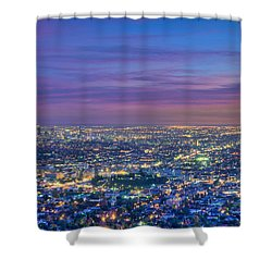 La Fiery Sunset Cityscape Skyline Shower Curtain