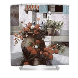 La Giara E I Fiori Rossi Shower Curtain by Guido Borelli