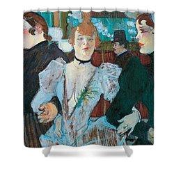 La Goulue Arriving At Moulin Rouge With Two Women Shower Curtain by Henri de Toulouse Lautrec