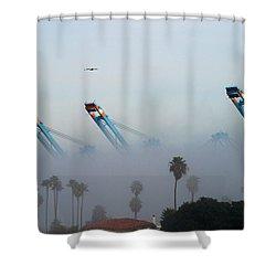 La Harbor Never Sleeps Shower Curtain