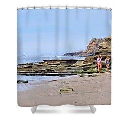 La Jolla Beach Walk Shower Curtain