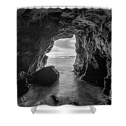 La Jolla Cave Bw Shower Curtain