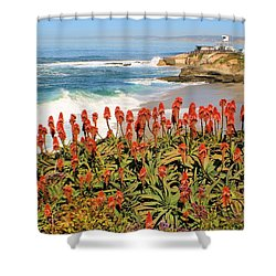 La Jolla Coast With Flowers Blooming Shower Curtain