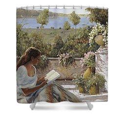 La Lettura All'ombra Shower Curtain by Guido Borelli