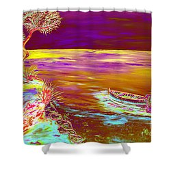 Shower Curtain featuring the painting La Pesca by Loredana Messina