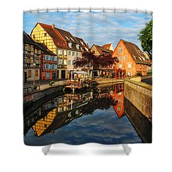 La Petite Venice Reflections In Colmar France Shower Curtain by Greg Matchick