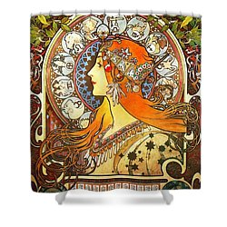 La Plume Zodiac Shower Curtain by Alphonse Mucha