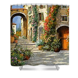 La Porta Rossa Sulla Salita Shower Curtain by Guido Borelli