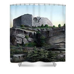 La Rocca De Monte Calvo Shower Curtain by Albert Puskaric