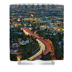 La Skyline Night Magic Hour Dusk Streaking Tail Lights Freeway Shower Curtain
