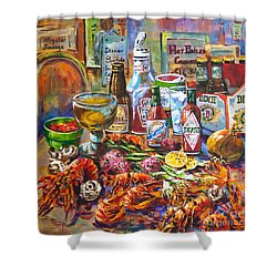 La Table De Fruits De Mer Shower Curtain by Dianne Parks