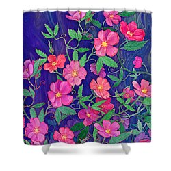 Shower Curtain featuring the mixed media La Vie En Rose by Teresa Ascone