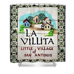 La Villita Tile Sign On The Riverwalk San Antonio Texas Watercolor Digital Art Shower Curtain by Shawn O'Brien