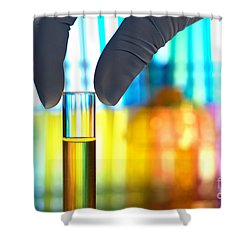 Laboratory Test Tube In Science Research Lab Shower Curtain by Olivier Le Queinec