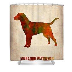 Labrador Retriever Poster Shower Curtain by Naxart Studio
