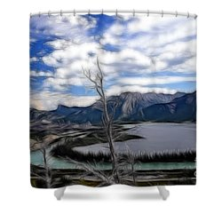 Lac Des Arcs Fractal Shower Curtain