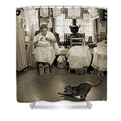 Shower Curtain featuring the photograph Lace Lady Of Burano-bw by Jennie Breeze