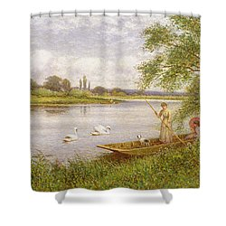 Ladies In A Punt Shower Curtain by Arthur Augustus II Glendening