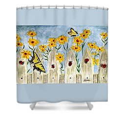 Ladies In The Garden Shower Curtain by Angela Davies