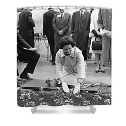 Lady Bird Johnson Planting Shower Curtain by Underwood Archives