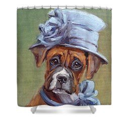 Lady Boxer With Blue Hat Shower Curtain