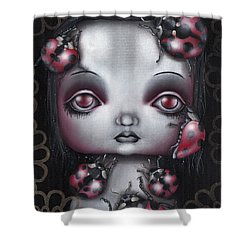Lady Bug Girl Shower Curtain