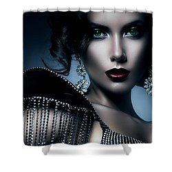 Shower Curtain featuring the digital art Lady Green Eyes by Karen Showell