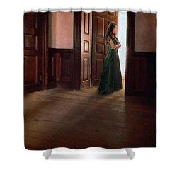 Lady In Green Gown In Doorway Shower Curtain by Jill Battaglia